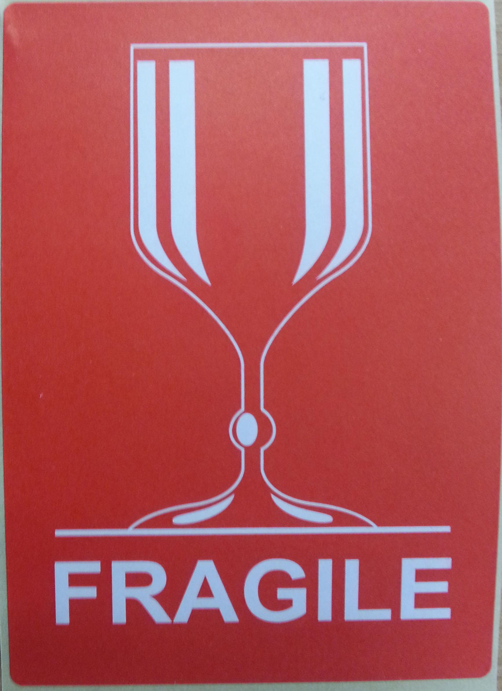 """Étiquette autocollante """"Fragile"""""""